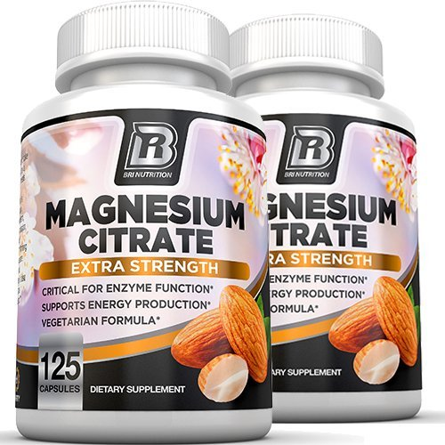 Magnesium Citrate - 125 Count 400 mg per Veggie Capsule - 2-Pack by BRI Nutrition