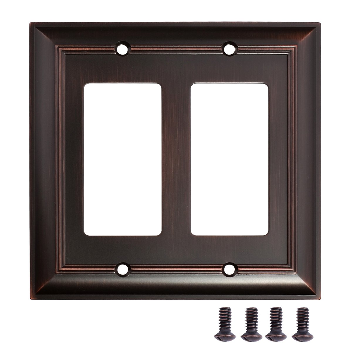 AmazonBasics Double Gang Wall Plate, Oil Rubbed Bronze, 2-Pack