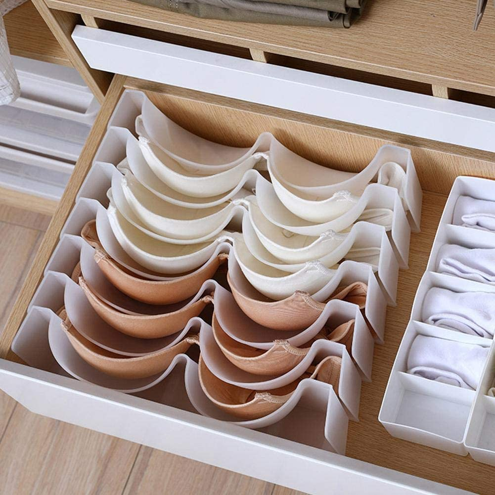 NewMoo 6Pcs / Set Underwear Boxes Stable Stackable Bra Clothes Storage Rack Cupboard Drawer Divider Finishing Combination Bra Organizer