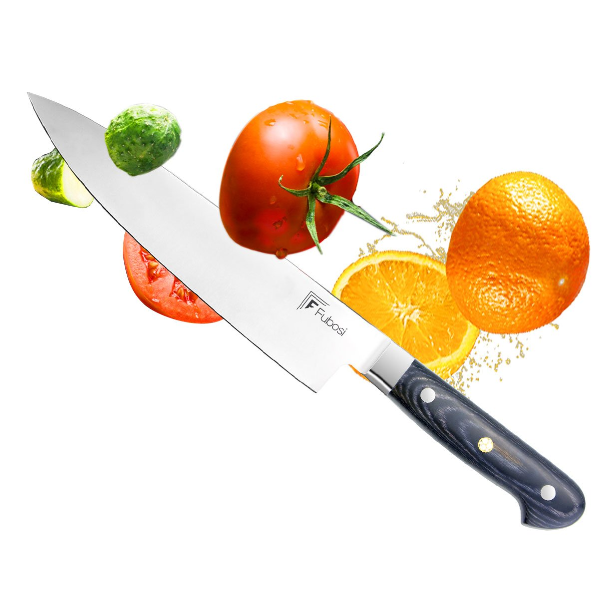 Chef Knife,Fubosi Chef's Knife 8 inches, Professional Kitchen Sharp Fruit Vegetable Knife, High Carbon Japanese Stainless Steel Gyutou Knives With Ergonomic Handle for Home Kitchen and Restaurant