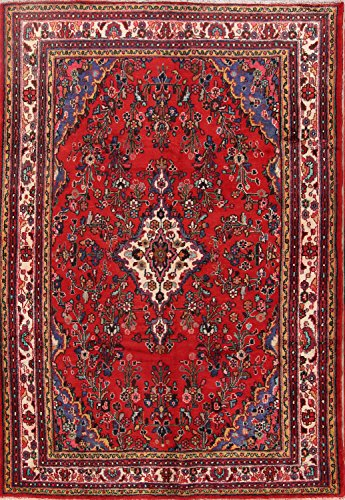 Rug Source Floral Hamedan Hand Knotted Vintage Persian Area Rug 7x11 For Living Room (10' 8'' X 7' (Hamedan Persian Hand Knotted Rug)