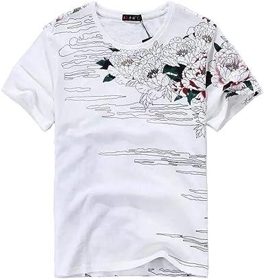 BaronHong Camiseta Estampada de Manga Corta con Bordado de ...