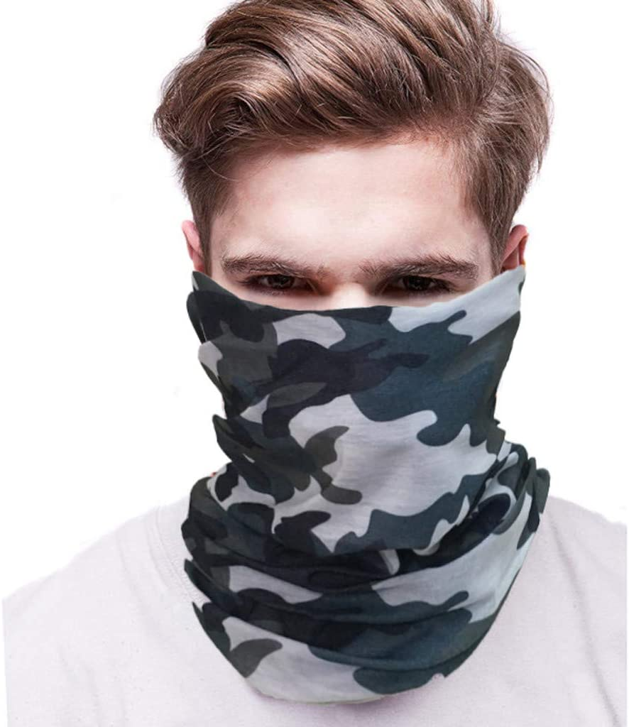 Shan-S Summer Sun UV Protection Face Guard Neck Gaiter Windproof Scarf Sunscreen Breathable Bandana for Fishing Hiking Camping Outdoors Versatile Sunblock Headwrap Camo