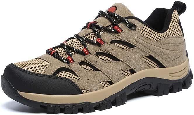 Zapatillas de Hombre Trekking Senderismo para Transpirable Camping Antideslizantes Zapatos de Deporte Caminar Trabajo Trail Running Sneaker Verde Negro Gris Caqui EU39-46: Amazon.es: Zapatos y complementos