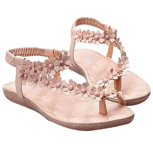 Rcool Sommer Böhmen Blumen Perlen Flip Flop Schuhe flache Sandalen (38, Khaki)