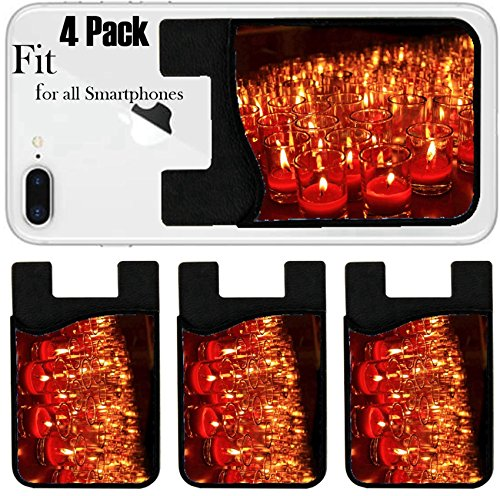 Candlelight Votive (Liili Phone Card Holder Sleeve/Wallet for IPhone Samsung Android and all Smartphones with Removable Microfiber Screen Cleaner Silicone card Caddy(4 Pack) Many red votive candles light the darkness in)