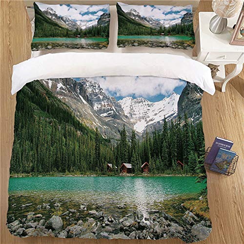 Bedding Printed Duvet Cover Set,Full Size,3pc with 2 Pillow Shams Landscape Canada Ohara Lake Yoho National Park with Mountains Nature Scenery Art Photo Multicolor