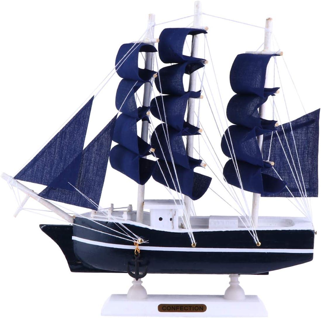 WINOMO Sailing Model Nautical Decor, Wooden Miniature Sailboat Model Vintage Sail Ship for Tabletop Ornament, 9.04X8.65X1.57in