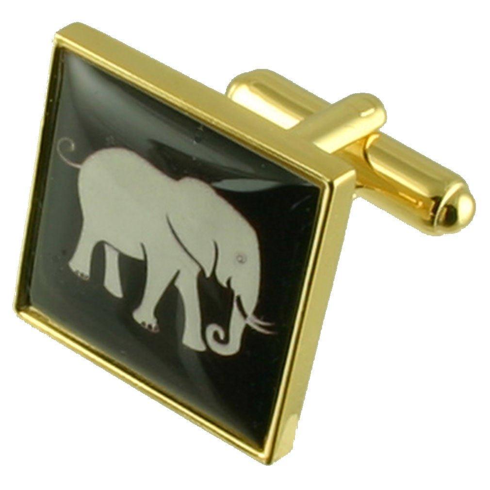 黄金のゾウのカフスボタンと袋   B01M3P1NXG