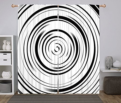 2 Panel Set Window Drapes Kitchen Curtains,Spires Decor Hypnotic Radial Concentric Interlace Circles with Dynamic Lines Art Print Black White,for Bedroom Living Room Dorm Kitchen Cafe - Interlace Panel