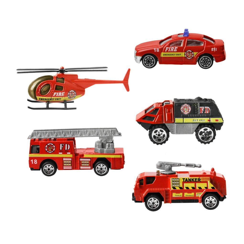 1:64 Set Of 5 Alloy Mini Fire Rescue Car/Helicopter/Rescue Ladder/Water Cannon Vehicle Model Kit Scaled Die Cast Car Toy Set for Kids Baby Boys Girls Toddlers Birthday Christmas Gift, Fire Rescue Car Set Moonlove