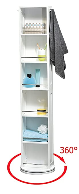 High Quality EVIDECO 9906100 Swivel Storage Cabinet Organizer Tower White Free Standing  Linen Tower Mirror