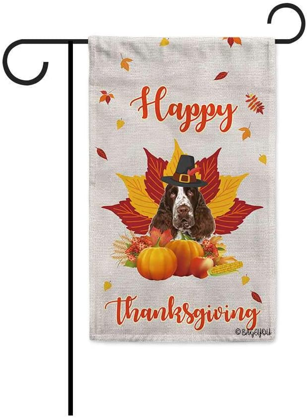 BAGEYOU Happy Thanksgiving Day with My Lover Dog Adorable English Springer Spaniel Garden Flag Harvest Season Pumpkin Maple Leaf Fall Decor Home Banner for Outside 12.5x18 Inch Print Both Sides