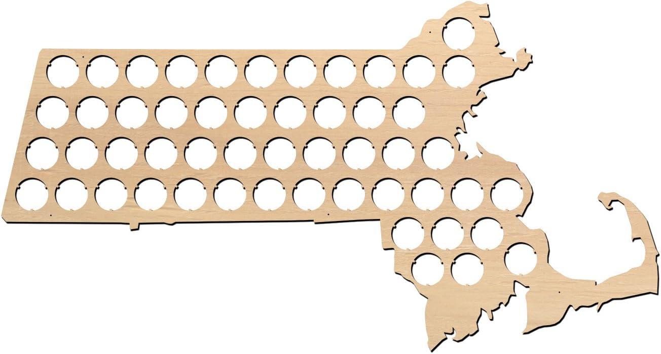 Massachusetts Beer Cap Map - 23x12.3 inches - 52 caps - Beer Cap Holder Massachusetts - Birch Plywood