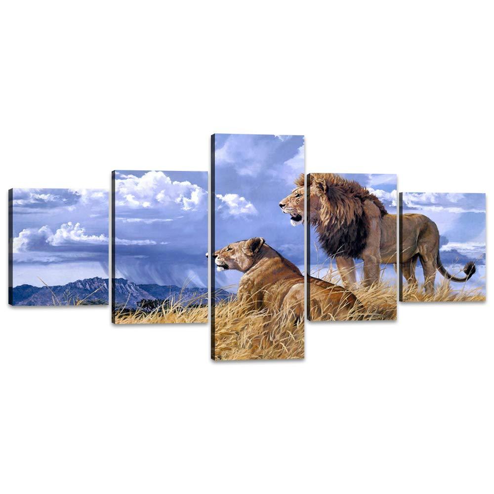 Artwork-17 50''W x 24''H Yatsen Bridge Framed Lion Pictures Wall Decor Modern 5 Panels White Black Lions Canvas Wall Art Easy to Hang Animal Posters for Living Room Bedroom Decor - 60''W x 32''H