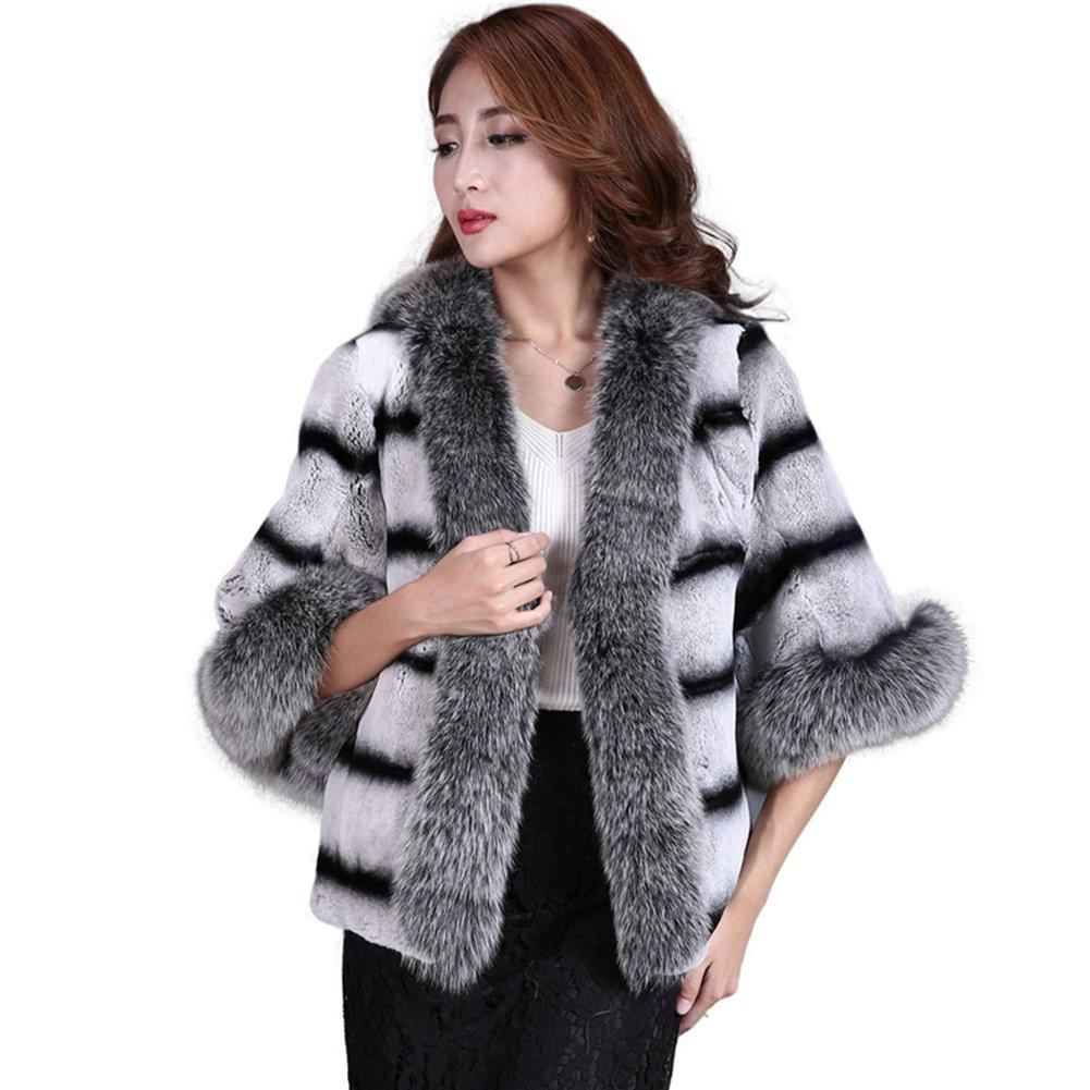Capes Wraps, MINGCHUAN Women's Real Rabbit Fur Shawls Cardigan Cloak Coat with Fox Fur Collar