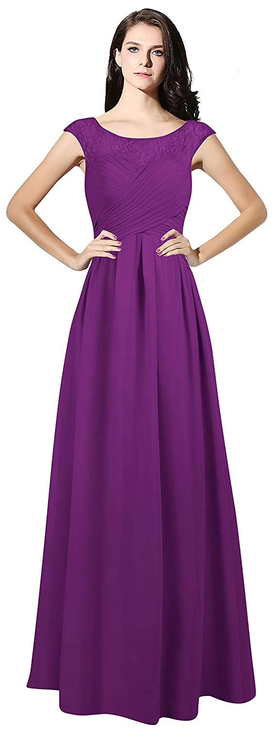 Purple CladiyaDress Women Sheer Neck Cap Sleeves Long Evening Dress Bridesmaid Gowns C067LF