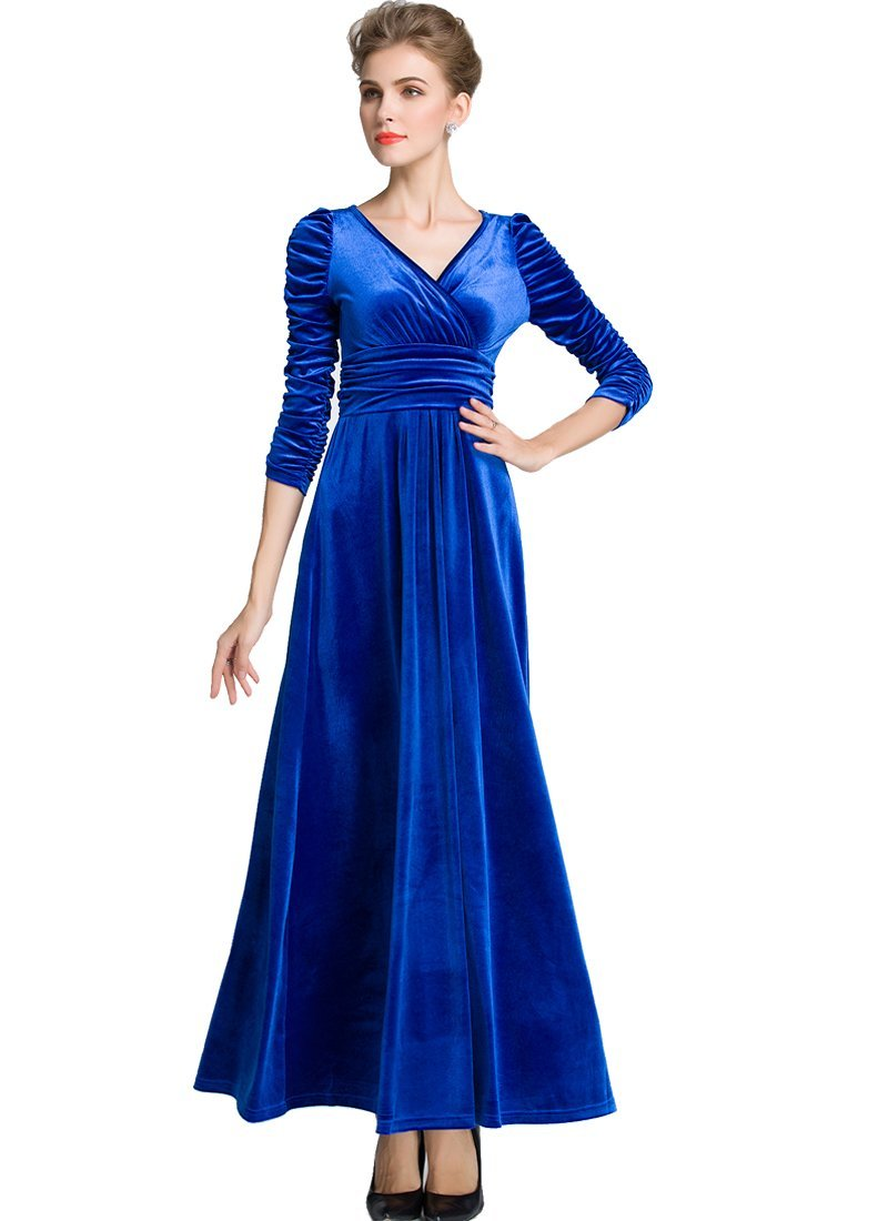 Medeshe Women's Emerald Green Christmas Long Velvet Maxi Dress (14/16, Royal Blue Ruched Waist)