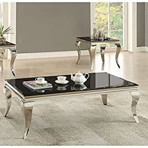 """Coaster Carone 705018 51.25"""" Coffee Table with Chrome Queen Anne Legs and Glass Top in Black"""