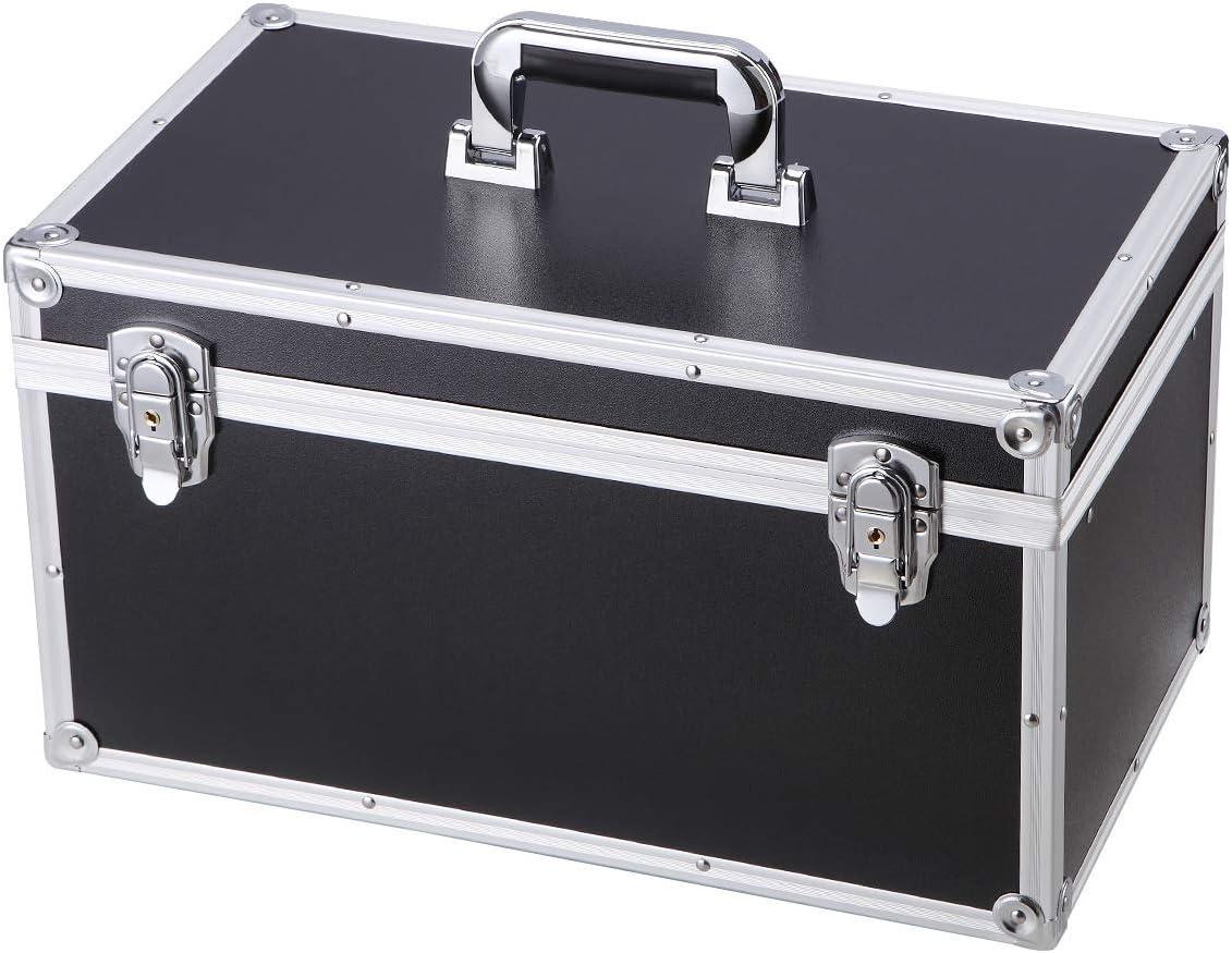 Black Toolbox Storage Case Large Tool Storage Box Multi-function Carrying Case Lockable Aluminum Hard Case Portable Toolbox Organizer