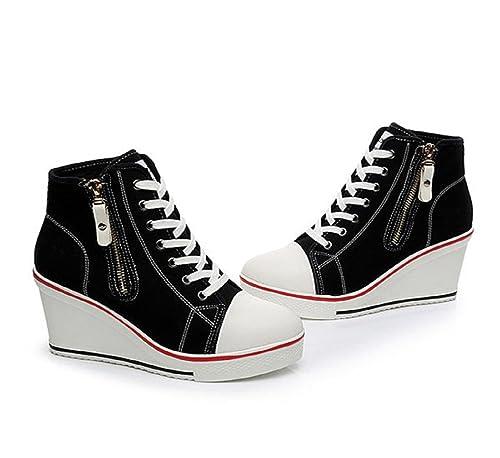 cf29658f5d73b5 Bashy Fashion Canvas Korean High Top Lace Up Zipper Wedge Heel Casual (10