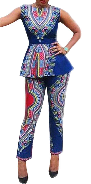 Oberora-Women 2 Piece African Print Dashiki Tunic Tank Top and Pants Outfits Sets