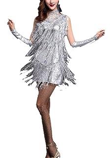 924ac998547a Whitewed V Neck 1920s Sequin Fringe Charleston Flapper Dance Dresses  Costumes