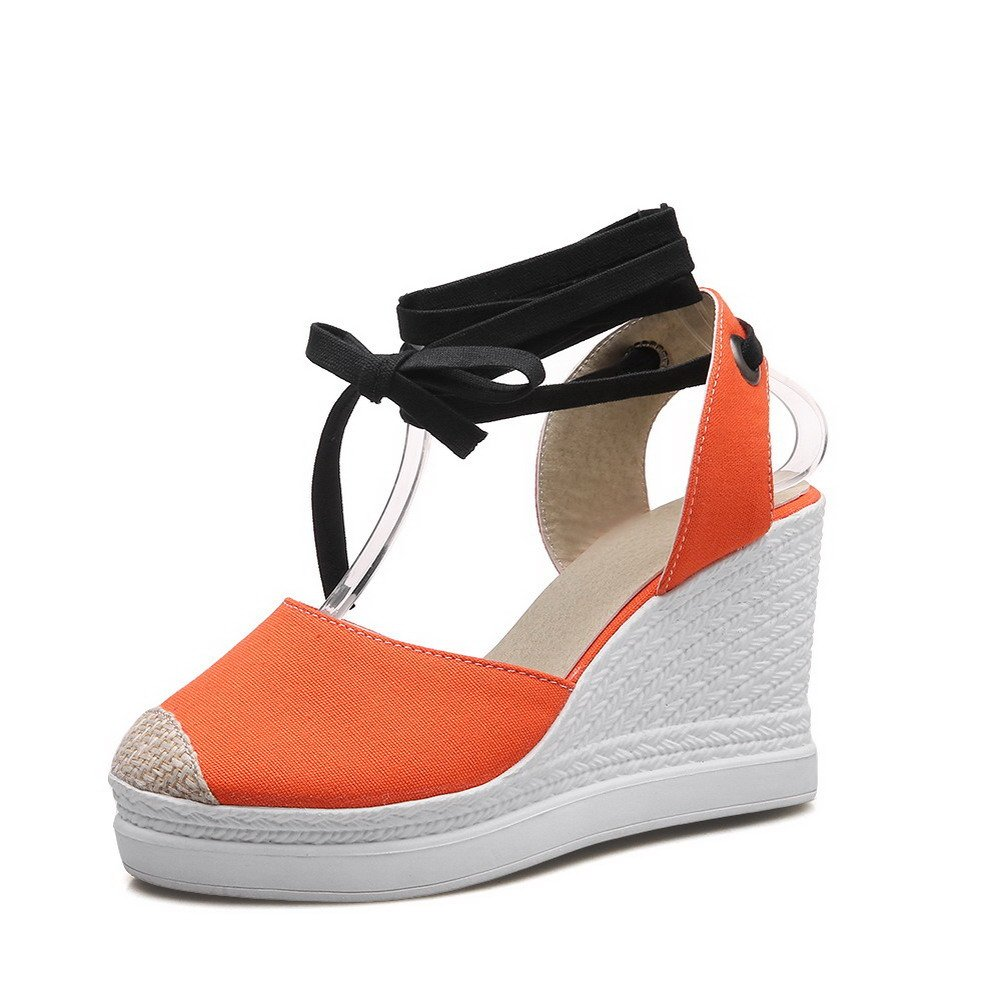 AllhqFashion Women's Closed Toe High-Heels Soft Material Lace-up Platforms & Wedges, Orange, 38 by AllhqFashion