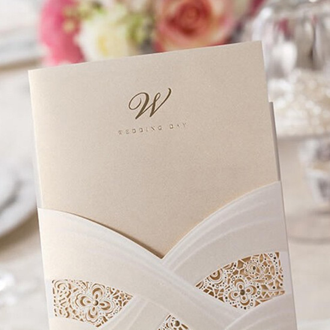 WISHMADE 20X Vertical Ivory Laser Cut Wedding Invitations Hollow Lace Flora Paper Cards for Bridal Shower Set of 20pcs