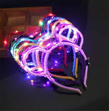 5pcs LED Flashing Unicorn Horn Light Up Headbands Hair Cosplay Costume Party Kid