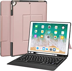 "iPad Pro 12.9 Case with Keyboard for ipad pro 12.9"" 2015/2017, Ultra-Thin PU Leather Silicon Rugged Shock Keyboard Stand Case with Pencil Holder (Not Fit for 2018 New ipad)-Rose Gold"