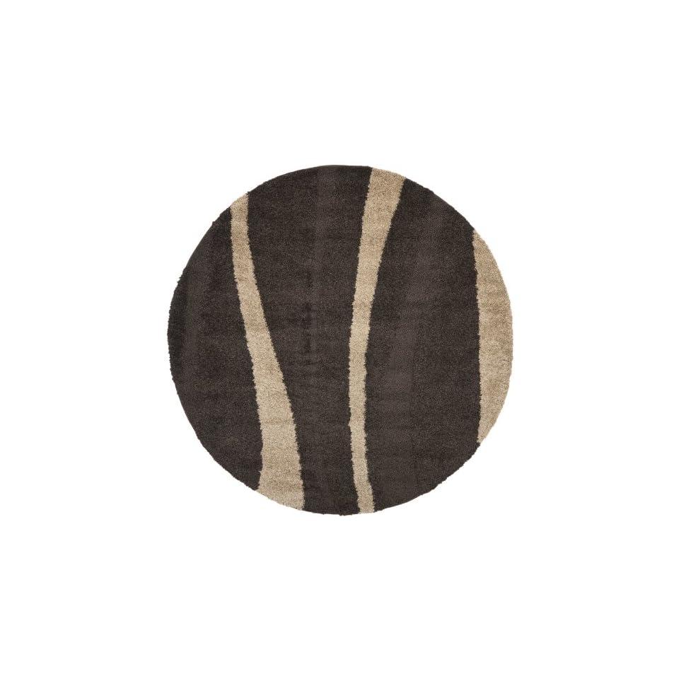 Safavieh Willow Shag Collection SG451 2813 Dark Brown and Beige Round Area Rug (67 Diameter)