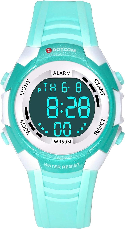 Relojes de Pulsera Electrónicos para Niños Niños Digital Relojes Deportes–5 ATM Reloj Deportivo Impermeable al Aire Libre con Alarma Cronómetro Luces de Colores de Fondo