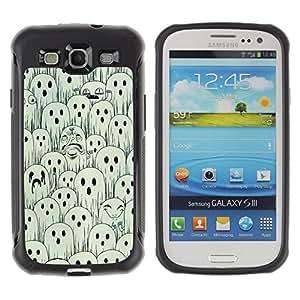 WAWU Funda Carcasa Bumper con Absorci??e Impactos y Anti-Ara??s Espalda Slim Rugged Armor -- ghosts white black spooky Halloween -- Samsung Galaxy S3 I9300