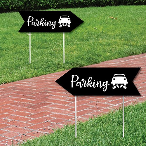 Black Wedding Parking Signs - Wedding Sign Arrow - Double Sided Directional Yard Signs - Set of 2 Parking Signs
