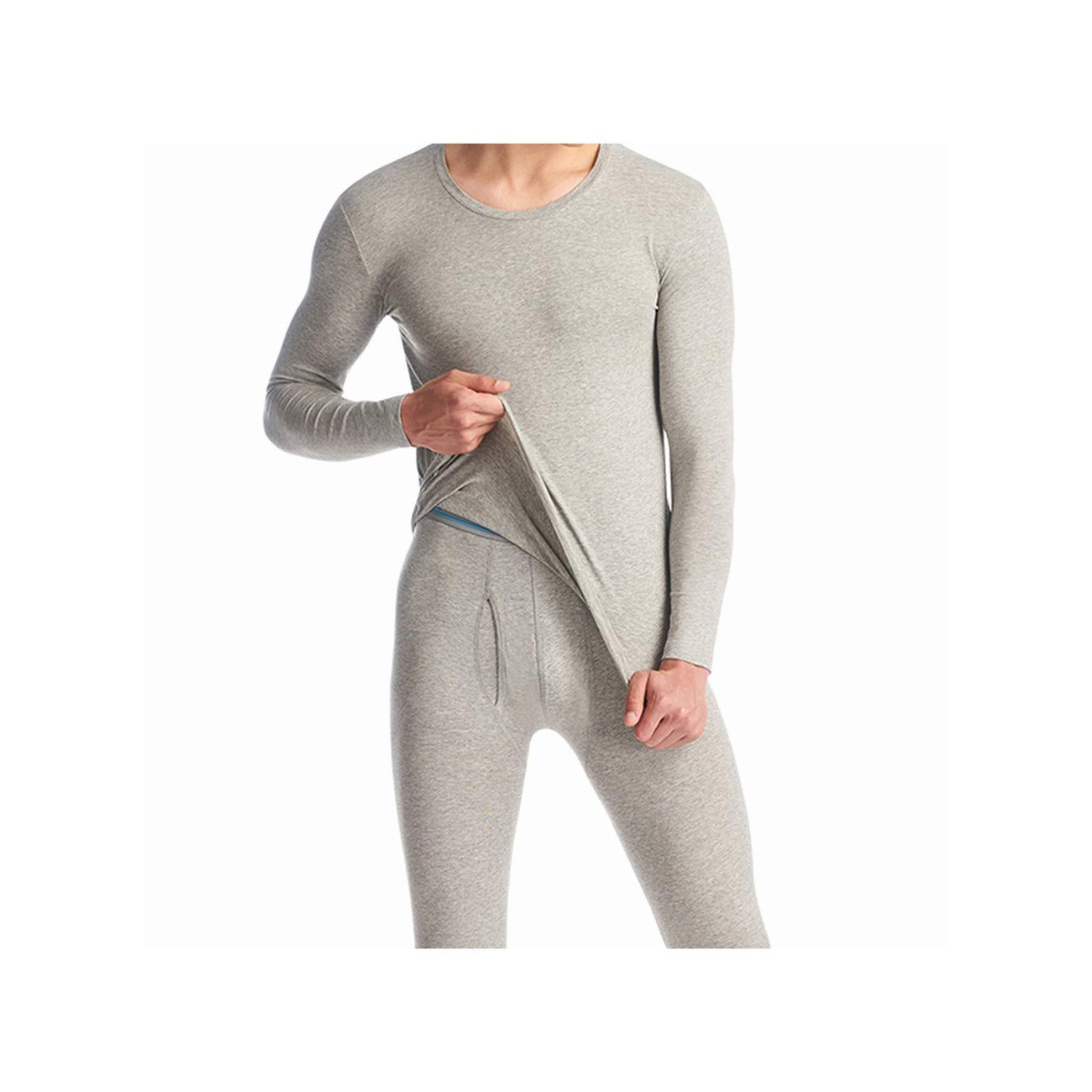 CHENGYA Cotton Men Round Neck Thermal Underwear Clothes Male Seamless Warm,Light Gray,XXL by CHENGYA