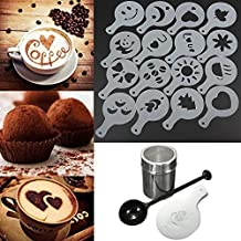 Whitelotous Chocolate Shaker Duster + 16pcs Cappuccino Coffee Stencils + Measure Spoon by Whitelotous