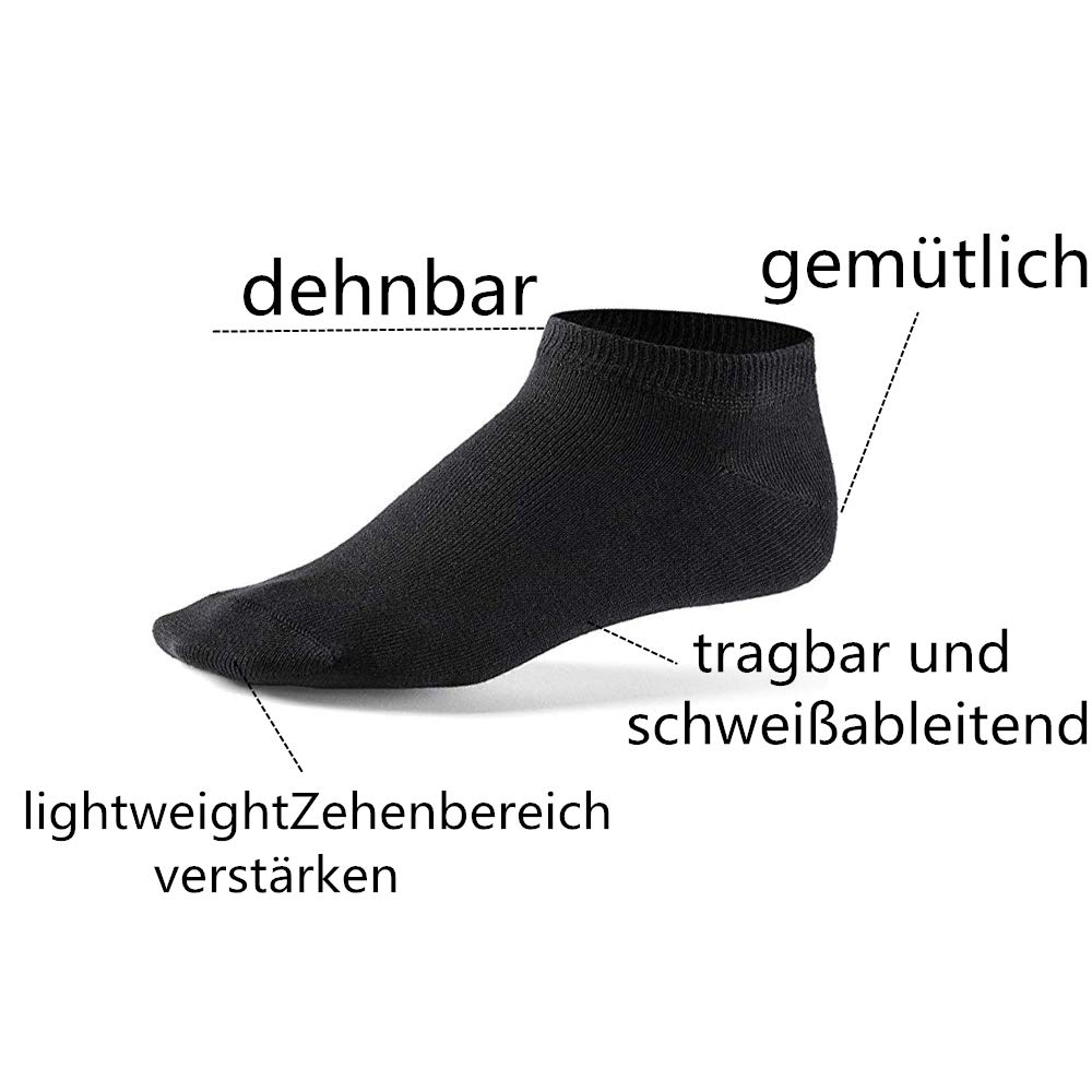 Falechay Sneaker Socken Herren Damen 6 Paar Kurze Halbsocken Quarter Baumwolle Unisex