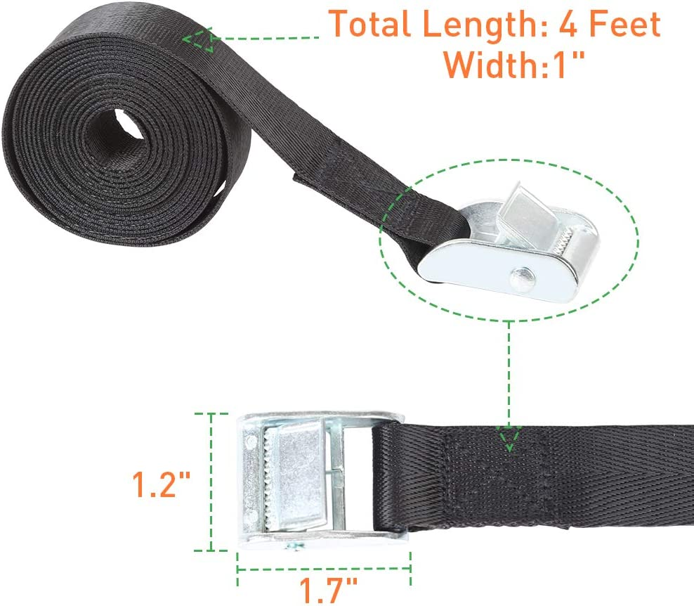 Black Truck Kayak Boat Furniture Arltb 2 Pieces Tie Down Strap 4 feet Luggage Strap Lashing Strap up to 770lb -1100 lbs Break Strength Securing Straps for Bike