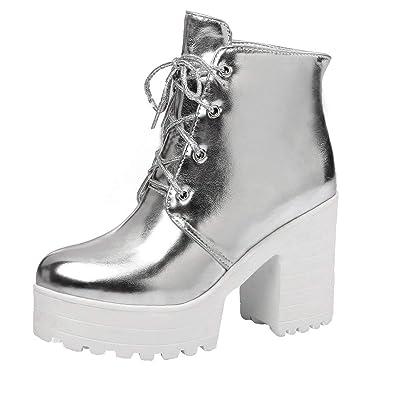 541e7e329f89ee Coolulu Damen Plateau Blockabsatz Stiefeletten Schnürung Kurzschaft Stiefel  Lack Ankle Boots Schuhe Zum Schnüren  Amazon.de  Schuhe   Handtaschen