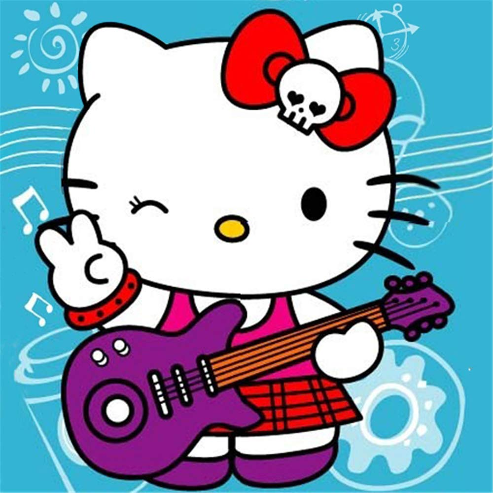 LALASKY Paint by Numbers for Kids, Hello Kitty, 5D DIY Diamond Painting Picture for Wall Decoration, Size 20x20cm