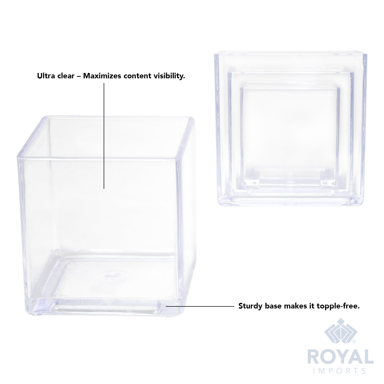 6 Tall 6x6 Cube Shape Royal Imports Flower Acrylic Vase Decorative Centerpiece for Home or Wedding Break Resistant