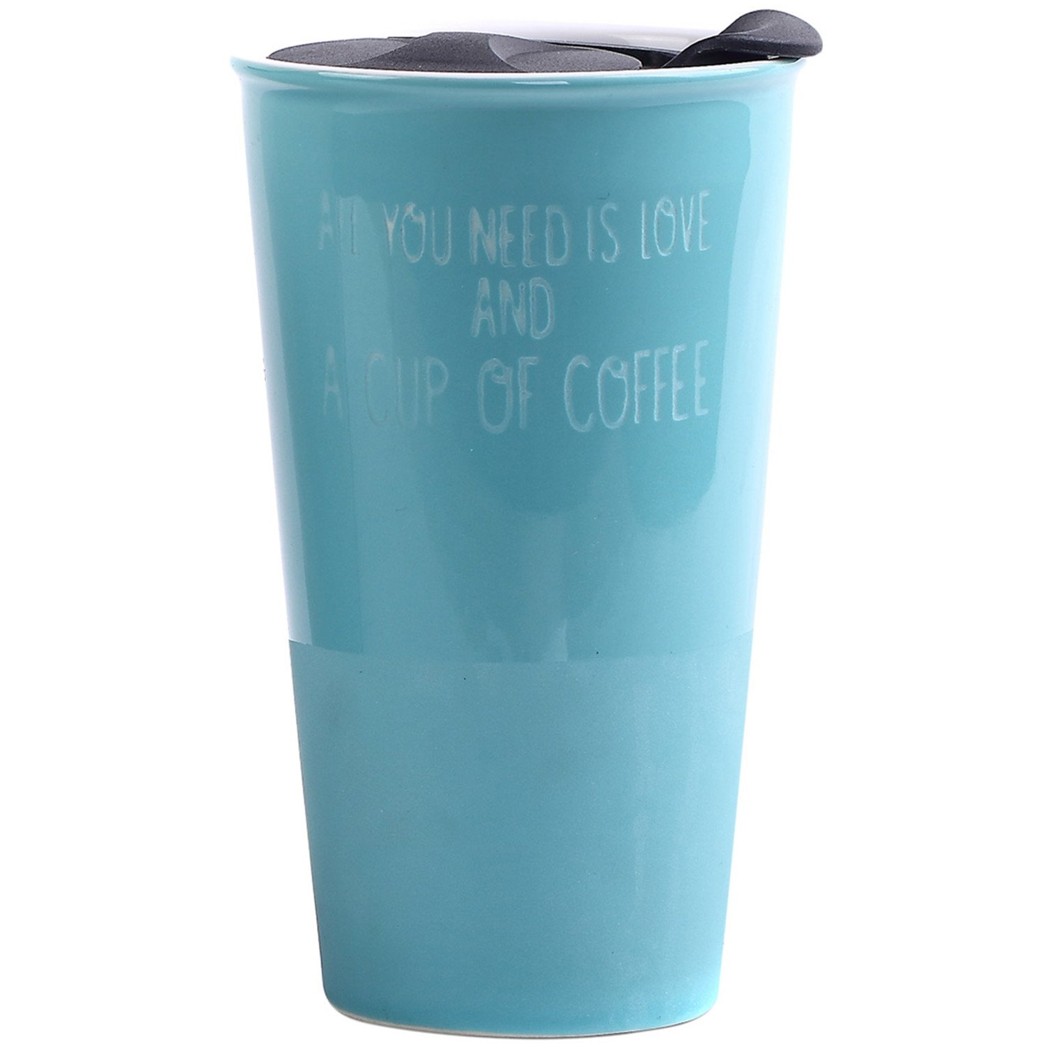 CEDAR HOME Travel Coffee Ceramic Mug Tea Cup Double Wall Porcelain With Lid 11oz., Teal
