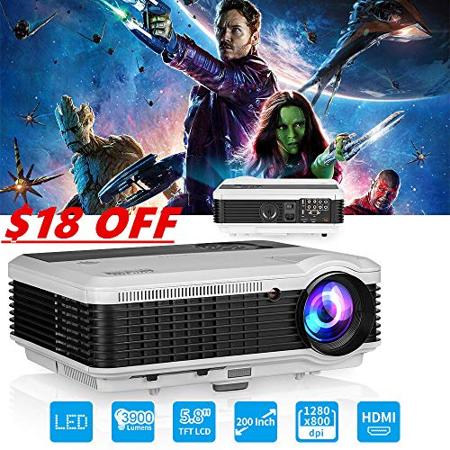 EUG LCD LED Multimedia HD Video Projector 3900 Lumens 1280×800 1080P Digital Movie Gaming Projector HDMI USB TV AV VGA Audio for Laptop PC Smartphone DVD PS4 Xbox Wii Home Theater Outdoor Party