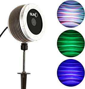 SUNY Outdoor Projector Lights Christmas Laser Lights RGB LED Wave Light, IP65 Waterproof Landscape Lighting for Garden Yard Pool House Xmas Holiday Decoration