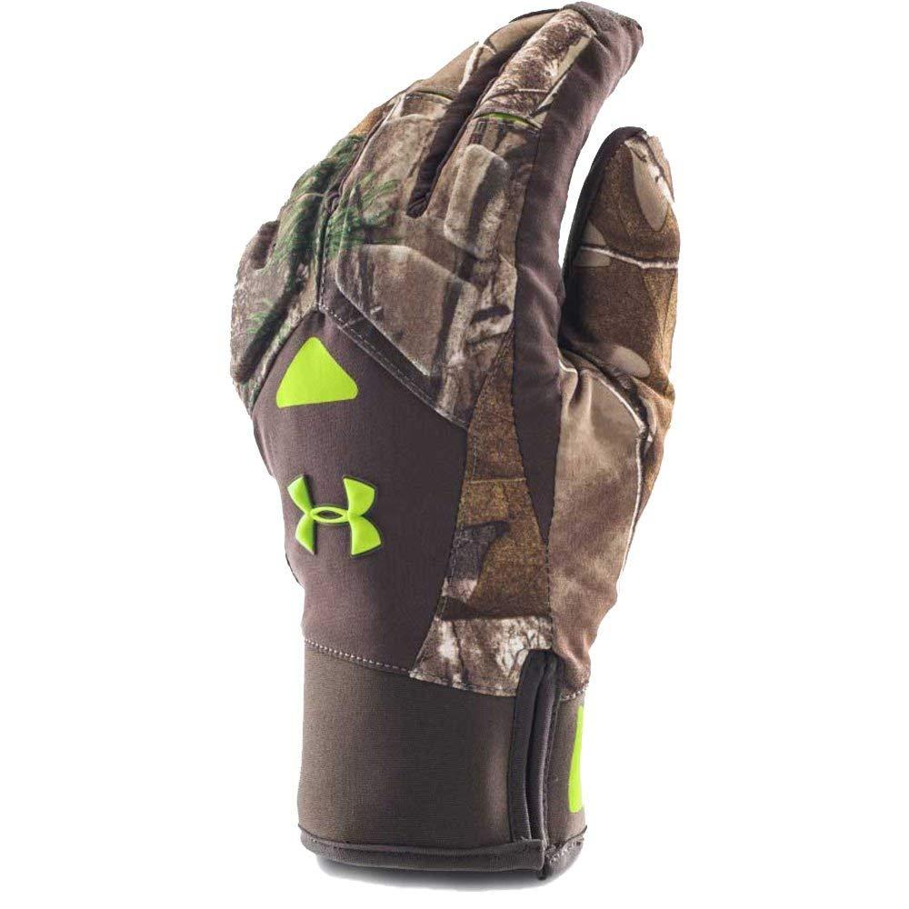 Under Armour Men's ColdGear Infrared Scent Control 2.0 Primer Gloves, Realtree Ap-Xtra (946)/Velocity, Small/Medium