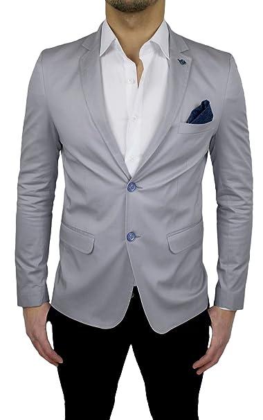 42e87e95158d Giacca Uomo Sartoriale Grigio Slim Fit casual elegante cerimonia estiva in cotone  Made in Italy: Amazon.it: Abbigliamento