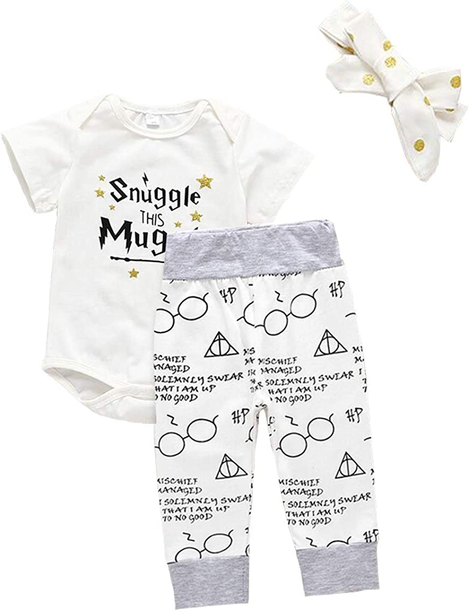 3Pcs Infant Kids Snuggle This Mugg Romper Shorts Headband Outfits Set MOLYHUA Toddler Girls Boys Clothes