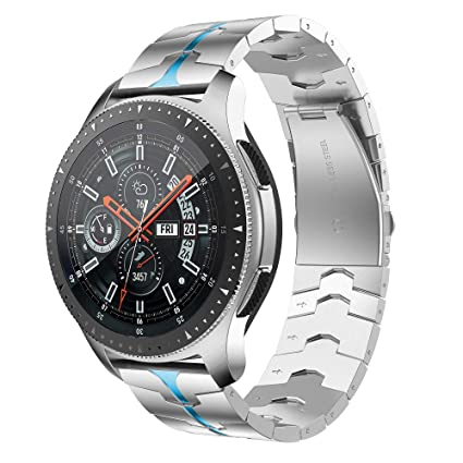 RABUZI Compatible for Samsung Galaxy Watch 46mm Bands,22mm Enamel Process Stainless Steel Metal Watch Strap Compatible Samsung Gear S3 ...