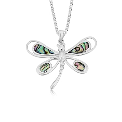 DTPSilver - 925 Sterling Silver and Abalone Paua Shell Dragonfly Pendant Z16Os